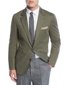 ebf519d20b5f8 Brunello Cucinelli Designer Men s Patch-Pocket Cotton Blazer Jacket Blazer  Suit