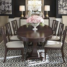 """Bassett Presidio Oval Dining Table H30"""" W48"""" D84"""" Includes two 21"""" leaves to extend to 126"""" and seat up to 10 comfortably. May seat up to 12"""
