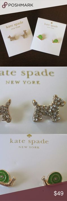 PRICE DROP KS Earring Bundle-Scotty and Lawn Party Two adorable Kate Spade earrings, the Scotty terrier puppy earrings and the snail Lawn Party earrings. Both pairs are new/unworn and on the earring card. kate spade Jewelry Earrings