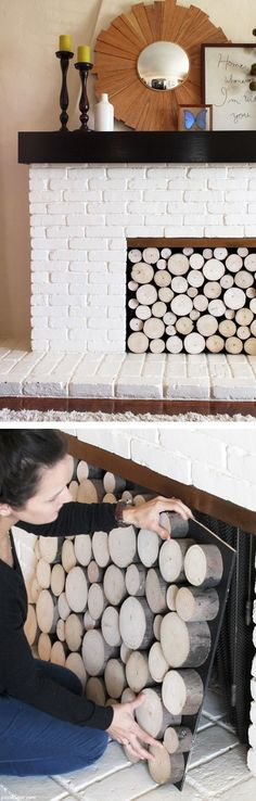 If I had a fireplace! Great idea for your fireplace in spring and summer, or if its a nonfunctional one. Perfectly stacked logs you can remove in seconds. My Living Room, Home And Living, Faux Fireplace, Wooden Fireplace, Fireplace Screens, Faux Mantle, Fireplace Cover, White Fireplace, Fireplace Ideas