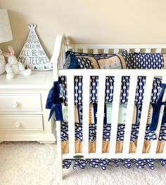 Ritzy Baby Designs, LLC - Mint, Navy, and Gold Aztec Crib Bedding, $448.00 (http://www.ritzybaby.com/mint-navy-and-gold-aztec-crib-bedding/)