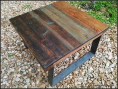 Reclaimed Salvaged Wood Coffee Side Table Mixed by HappyHomeAustin