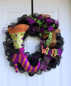 Halloween Witch Boot Wreath, Halloween Deco Mesh Wreath, Halloween Front Door Wreath, - pinned by pin4etsy.com
