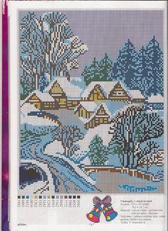 Christmas Cross, Winter Christmas, Cross Stitching, Cross Stitch Embroidery, Cross Stitch Landscape, Magic Hands, Cross Stitch Pictures, Needlepoint, Needlework