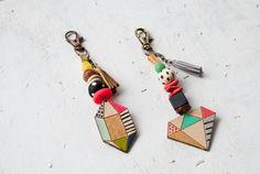 Wooden Gem Keychains