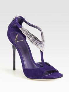 B Brian Atwood Purple Suede Crystal-Embellished T-Strap Sandals #Shoes #Heels