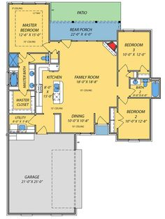 Small House with Giant Living Area - 83856JW | 1st Floor Master Suite, CAD Available, Narrow Lot, PDF, Photo Gallery, Southern, Split Bedrooms | Architectural Designs