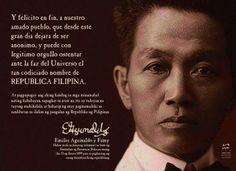 The quotation is part of General Aguinaldo's speech at Barasoain Church in Bulacan, on January during the innauguration of the Philippine Republic. Emilio Aguinaldo, Philippines People, Philippines Culture, Filipino, Jose Rizal, Patriotic Quotes, Subic, Pinoy, History Facts