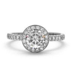 Halo 1 Karat Diamant-Ring 18 k Weissgold von JulietAndOliver