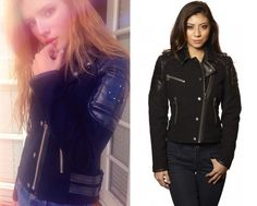 Bella Thorne wears thie Moose Knuckles Georgie Moto Jacket in her instagram photo.