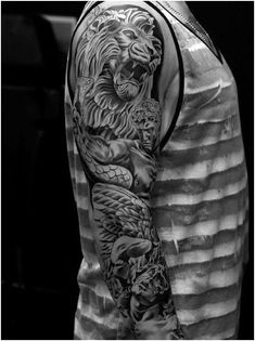 95 Awesome Lion Sleeve Tattoo Designs for Men, 101 Stylish Men Full Sleeve Tattoos, 145 Daring Lion Tattoo Designs for Men and Women, Men S Tattoos Sleeve Tattoos for Men Design Ideas Guys, 100 Realistic Lion Tattoos for Men 2019 Tribal. Juncha Tattoo, Tattoo Video, Leo Tattoos, Tattoos Pics, Jesus Tattoo, Tatoos, Lion Sleeve, Lion Tattoo Sleeves, Mens Lion Tattoo