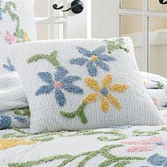 Colorful Floral Chenille Bedspread by MaryJanesFarm