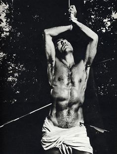 """""""Mishima in San Sebastian. He would have been one of his first love erotic before a picture by Guido Reni of the martyrdom of this saint. This photo is also representative of its erotic and morbid imagination so special. Photo by Kishin Shinoyama"""" Tableaux Vivants, Japanese Literature, Tv Movie, St Sebastian, Poses References, Portraits, Saint George, Gay Art, Male Beauty"""