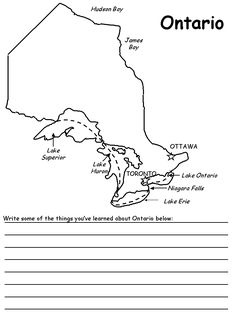 Ontario map coloring page Social Studies Projects, Social Studies Worksheets, School Worksheets, Teaching Social Studies, Kids Travel Journal, Maps For Kids, Primary Science, Canada, Socialism