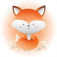 Baby Animal Drawings, Cute Cartoon Drawings, Fuchs Illustration, Cute Illustration, Cute Kids, Cute Babies, Cute Galaxy Wallpaper, Fox Art, Watercolor Animals