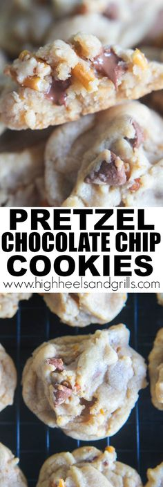 Pretzel Chocolate Chip Cookies - The perfect sweet and salty treat. Also, a post on what Visiting Teaching in the Mormon Church is. Cookie Desserts, Just Desserts, Cookie Recipes, Delicious Desserts, Dessert Recipes, Yummy Food, Fudge, Cake Pops, Cupcakes