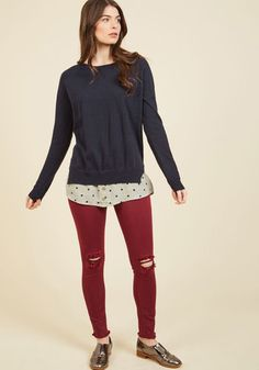 A quiet afternoon with candles burning, magazines to read, and this navy sweater to flaunt - why, it just doesn't get any better! A fun and fashionable part of your self-care routine, this pullover offers its vented sides, mint-hued trim, playful dots, and decorative buttons to your divine unwinding.