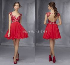 2014 Beaded Sweetheart Keyhole Back Corset Short Cocktail Dresses Party Gown Red Cap Sleeve Homecoming Dresses