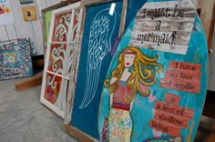 #mermaid #art painted on a skim board {from The Studio at Cosmic Acres}.