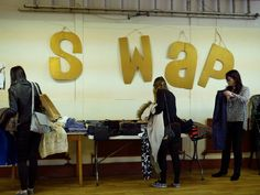"Clothes Swap & Wardrobe Surgery (Manchester 2016). ""Our April clothes swap will be held at St. Clement's Church as part of the Chorlton Big Green Happening. While you're at the swap you can drop in to our Wardrobe Surgery between 2-4pm where there'll be sewing equipment and advice and ideas on zhooshing up your swap finds."""