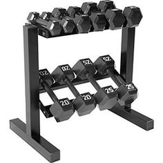 CAP Barbell Hex Dumbbell Set with Rack, 150 lb, Black