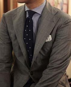 Shark skin gray suit & Knit navy dot tie      At B&Tailorshop
