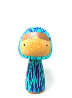Wooden Peg Doll Kokeshi Blue Lines Art Doll Lucy by abbyjac