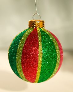 DIY Gltter Ball by marthastewart #Glitter_Ball #Christmas_Ornament #marthastewart