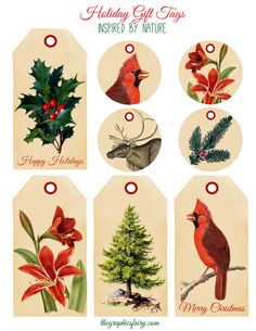 Printable Tags - Nature Inspired for the Holidays - The Graphics Fairy. Just in time for this holiday, vintagey tags. Free Printable Christmas Gift Tags, Free Christmas Gifts, Holiday Gift Tags, Printable Tags, Noel Christmas, Christmas Printables, All Things Christmas, Winter Christmas, Christmas Crafts
