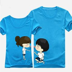 New Trend Of Korean Lovers Summer Original Sweet couple t shirt light blue