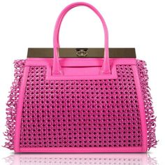 The Roma in Pink. Pink Vitello Pebbled Leather with Fringed Rattan Cover. #DeeOcleppo #DeeOcleppoBags #DOH #Pink #Nymphe #PebbledLeather #Rattan #Spring2015 #VersatileLuxury #TheRoma