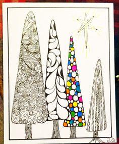 Zentangle style: Christmas card: Christmas trees