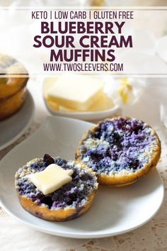 Sour Cream Muffins, Keto Blueberry Muffins, Gluten Free Blueberry, Quick Keto Breakfast, Breakfast Recipes, Free Breakfast, Dinner Recipes, Breakfast Items, Wrap Recipes