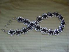 Ficha Pop Pinwheel flor cintura Hipster correa w/Swivel langosta cierre accesorio negro de ganchillo