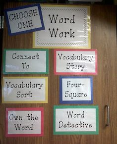 Love the Word Work choices from Juice Boxes and Crayolas: Organization Week Day 2: Literacy (aka Daily 3 Bootcamp)