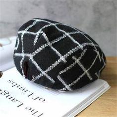 Black and white plaid flat cap for women winter wool ivy cap eb6fde0c2b71