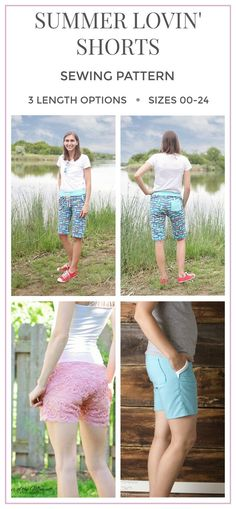 Wonderful pattern, I love the pockets, they are super shorts! I love that you can choose your length. Summer Lovin' Shorts PDF Sewing Pattern, Bermuda Shorts Pattern, Capris Pattern, Shorts Pattern, Women's Shorts #sewing #sewingpattern #ad #diy #modestfashion #summerstyle #shorts