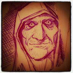 Il monaco, schizzo a penna