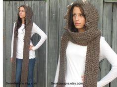 Bufanda con capucha bufanda larga lana bufanda por SWAKCouture