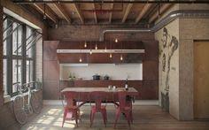 cucina loft progettato da nordes