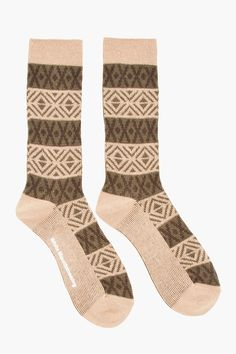 WHITE MOUNTAINEERING Tan & Olive Mid Rise Jacquard Knit Socks