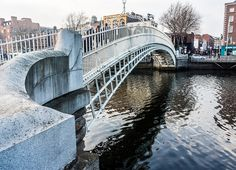The Ha'penny Bridge known for a time as the Penny Ha'penny Bridge, and officially the Liffey Bridge, is a pedestrian bridge built in 1816 over the River Liffey in Dublin, Ireland. Made of cast-iron, the bridge was cast at Coalbrookdale in Shropshire.