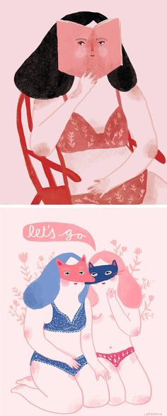 Dreamy illustrations by Camila Ortega // illustrated ladies // painted ladies