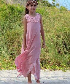 Look what I found on #zulily! Pink Crocheted Casablanca Maxi Dress - Toddler & Girls #zulilyfinds