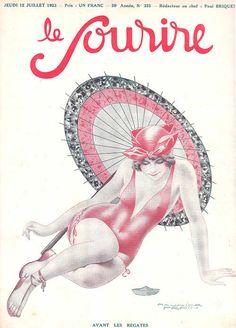 Detail Of Le Sourire Magazine 1923 Avant Les Regates - Mad Men Art: The Vintage Advertisement Art Collection Art Vintage, Vintage Artwork, Retro Art, Vintage Ads, Vintage Images, Vintage Prints, Vintage Posters, Vintage Vogue, Cover Art