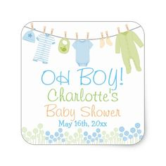 OH BOY! Lil Clothes Blue & Green Baby Shower Square Sticker