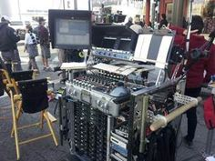 Nelson Stoll's audio cart, outfitted with gear including Shure's UHF-R wireless
