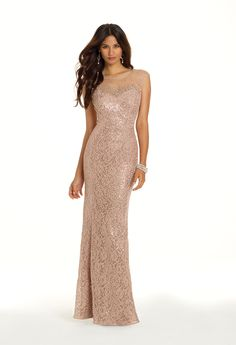 Camille La Vie Sequin and Lace Prom Dress with Cutout Back