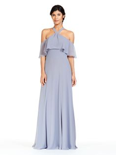 ed6786a6a4e Bari Jay 1829 is a long Bella Chiffon bridesmaid dress that has a V strap  halter