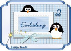 Einladungskarte Kindergeburtstag Pinguin von Jasuki auf DaWanda.com